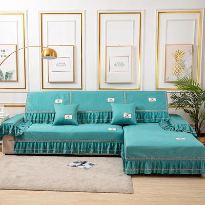 2020新款-棉麻全包原点系列沙发套 扶手38*100(三边大垂边) 原点-绿