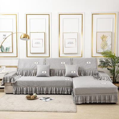 2020新款-棉麻全包原点系列沙发套 扶手38*100(三边大垂边) 原点-灰