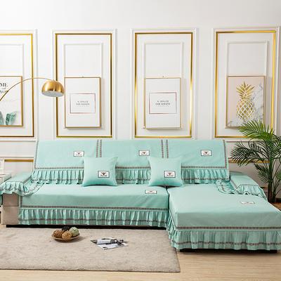 2020新款-棉麻全包原点系列沙发套 扶手38*100(三边大垂边) 原点-蓝