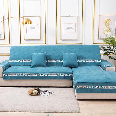 2020新款-北欧风菱格系列沙发图垫 70*70cm(单人位靠背巾) 菱格蓝