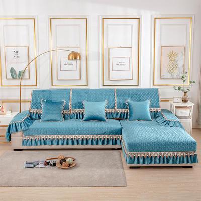 2020新款-荷兰绒沙发垫梦境系列 扶手38*70(三面20cm垂边) 梦境蓝