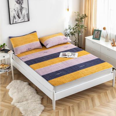2020新款-简约夹棉床护垫 120*200cm 时尚条纹黄