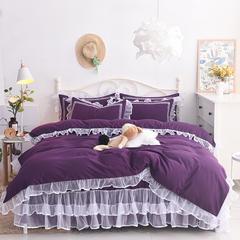 洛丽塔床裙四件套单品 枕套一对48*74 深紫
