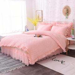 茉莉床裙四件套单品 枕套一对48*74 嫩粉色(夹棉)