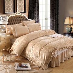 荣华富贵床裙四件套单品 枕套一对48*74 金色