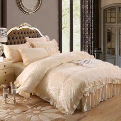 荣华富贵床裙四件套单品 枕套一对48*74 米色