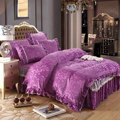 荣华富贵床裙四件套单品 枕套一对48*74 紫色