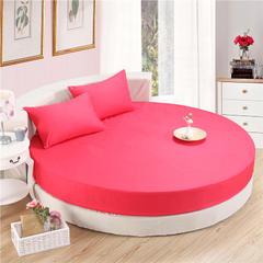 斜纹圆床笠 枕套一对48*74 砖红