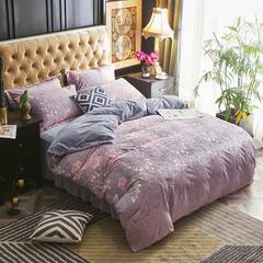 2018新款5D雕花绒四件套 1.5m(5英尺)床 婀娜多姿-灰色