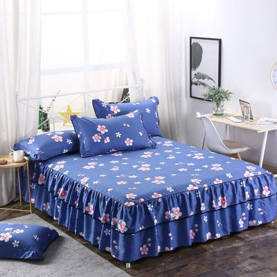 2019新款-双层裙摆床裙单品/单枕套 单枕套一对 桃花朵朵