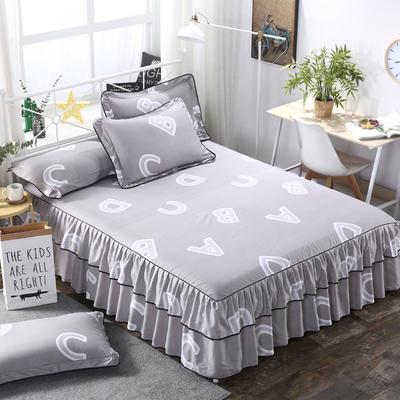2019新款-双层裙摆床裙单品/单枕套 单枕套一对 字母达人