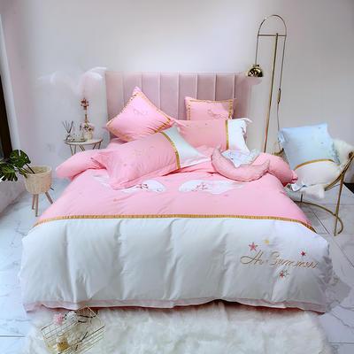 2019新款-60支埃及长绒棉刺绣纯棉四件套-天使翅膀系列 1.5m(5英尺)床 粉色