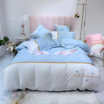 2019新款-60支埃及长绒棉刺绣纯棉四件套-天使翅膀系列 1.5m(5英尺)床 蓝色
