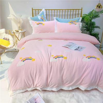 2019新款-冬季高克重牛奶绒四件套 毛巾绣彩虹小清新 1.5m(5英尺)床 彩虹-粉色