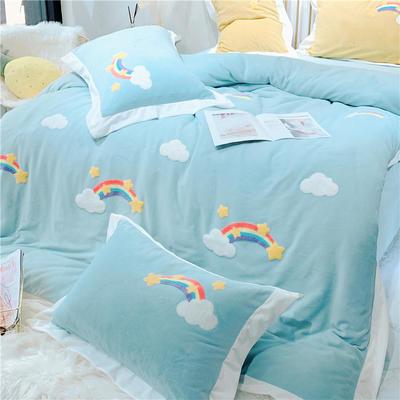2019新款-冬季高克重牛奶绒四件套 毛巾绣彩虹小清新 1.5m(5英尺)床 彩虹-蓝色