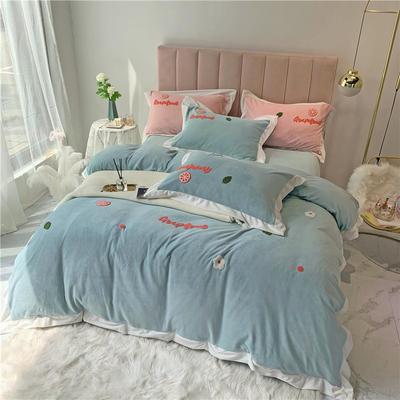 冬季高克重毛巾绣牛奶绒四件套 彩虹西柚绣花小清新 1.5m(5英尺)床 西柚-蓝色