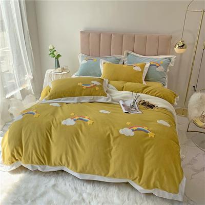 冬季高克重毛巾绣牛奶绒四件套 彩虹西柚绣花小清新 1.5m(5英尺)床 彩虹-黄色