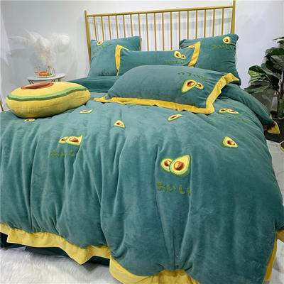 冬季新品 高克重牛奶绒四件套 小清新牛油果毛巾绣 1.8m(6英尺)床 牛油果
