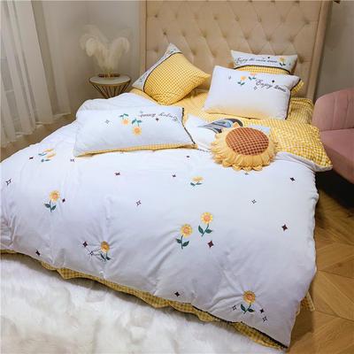 230g高克重宝宝绒黄格子小清新向日葵刺绣四件套 1.5m(5英尺)床 向日葵