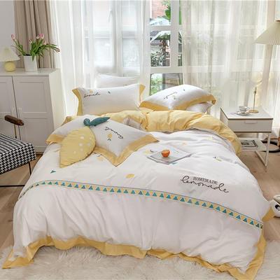2020新品 夏季裸睡60支兰精天丝四件套 小清新黄色夏日柠檬刺绣 1.5m(5英尺)床 天丝-夏日柠檬
