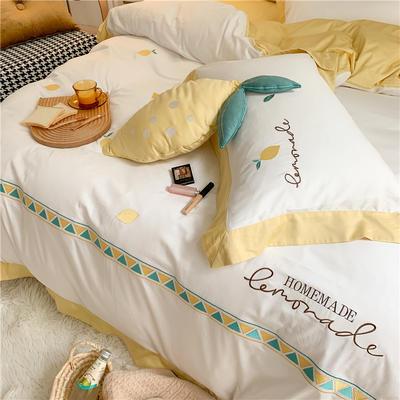 2020新品 60支长绒棉四件套 小清新黄色夏日柠檬刺绣 1.5m(5英尺)床 长绒棉-夏日柠檬