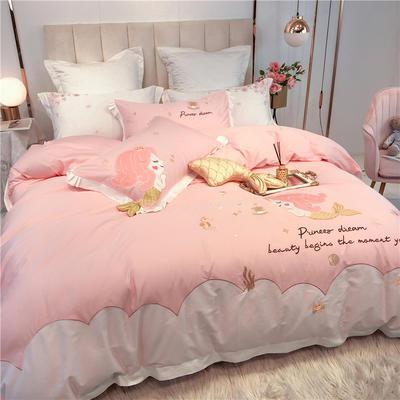 2020新品 60支长绒棉四件套 贴布绣粉色 美人鱼 1.2m(4英尺)床 长绒棉美人鱼公主-粉色