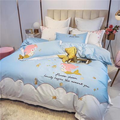 2020新品 60支长绒棉四件套 贴布绣粉色 美人鱼 1.2m(4英尺)床 长绒棉美人鱼公主-蓝色