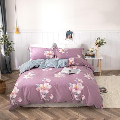 2019新款-13376五星斜纹四件套 1.5m-1.8m床(床单款) 莱茵春色-紫