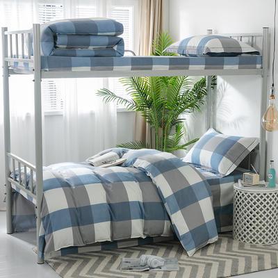 2019新款-暖绒儿童三件套 1.5m(5英尺)床 蓝白格