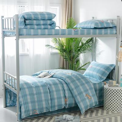 2019新款-暖绒儿童三件套 1.5m(5英尺)床 耀世心动-蓝