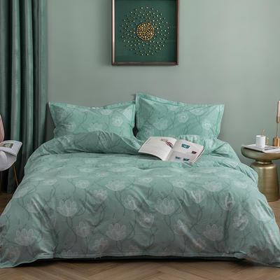 2019新款全棉生态磨毛四件套 2.0m标准床单款 爱莲-绿