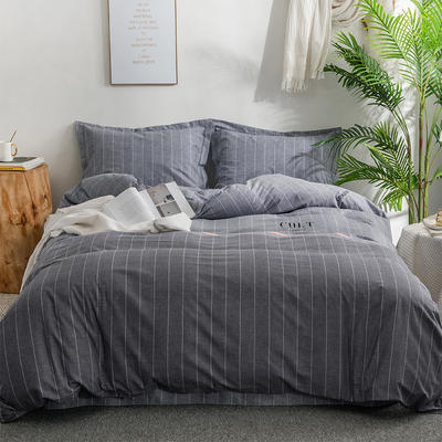 2019新款全棉磨毛四件套 2.0m标准床单款 城市大道-灰