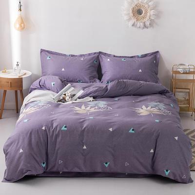 2019新款全棉磨毛四件套 2.0m标准床单款 浮华-紫