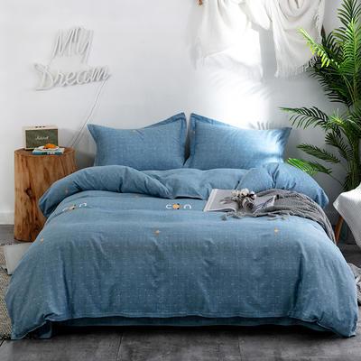 2019新款全棉生态磨毛四件套 2.0m标准床单款 米兰之恋-蓝