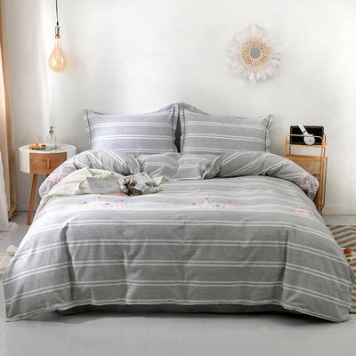 2019新款全棉磨毛四件套 2.0m标准床单款 漂流瓶-灰