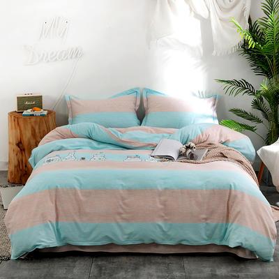 2019新款全棉磨毛四件套 2.0m标准床单款 漂流瓶-蓝