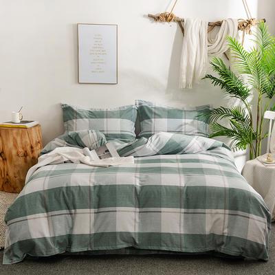 2019新款全棉磨毛四件套 2.0m标准床单款 史蒂芬-绿