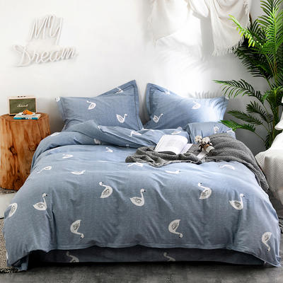 2019新款全棉生态磨毛四件套 2.0m标准床单款 天使之星-灰