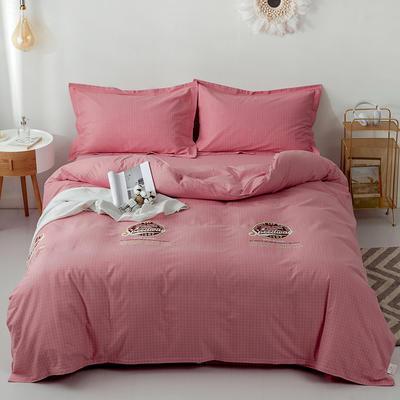 2019新款全棉磨毛四件套 2.0m标准床单款 西蒙-粉