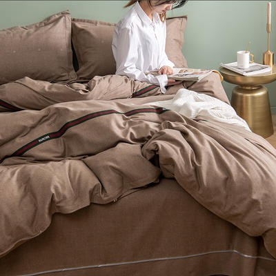 2019新款全棉生态磨毛四件套 2.0m标准床单款 夏洛尔斯