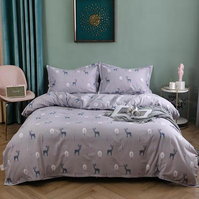 2019新款全棉生态磨毛四件套 2.0m标准床单款 小鹿-紫