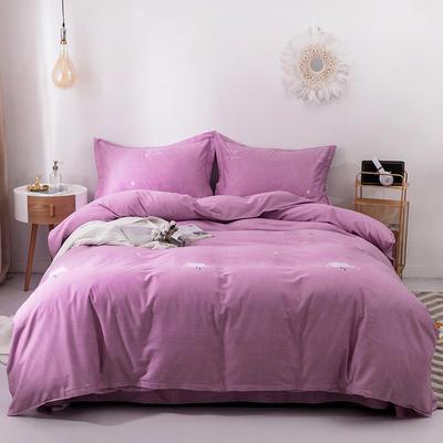 2019新款全棉生态磨毛四件套 2.0m标准床单款 星辰-粉