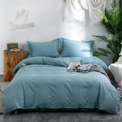 2019新款全棉磨毛四件套 2.0m标准床单款 星辰-绿