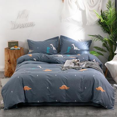 2019新款全棉生态磨毛四件套 2.0m标准床单款 侏罗纪-蓝
