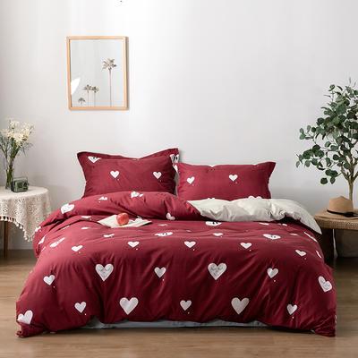 2020新款精梳棉化纤四件套 1.5m床单款四件套 爱心-红