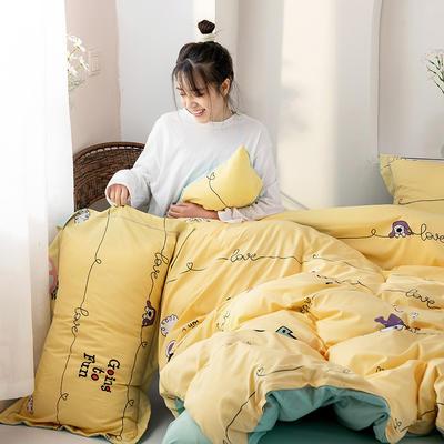 2020新款精梳棉化纤四件套 1.5m床单款四件套 村庄-黄