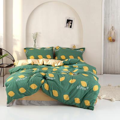 2020新款精梳棉化纤四件套 1.5m床单款四件套 柠檬-绿