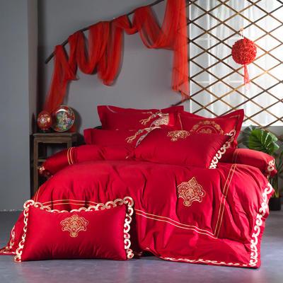 2019新款全棉100支长绒棉四件套纯棉套件 1.5m-1.8m 红色