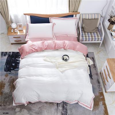 2019新款60支酒店、宾馆全棉四圈刺绣四件套 1.5m-1.8m 粉色