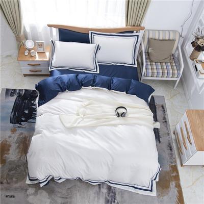 2019新款60支酒店、宾馆全棉四圈刺绣四件套 1.5m-1.8m 蓝色框